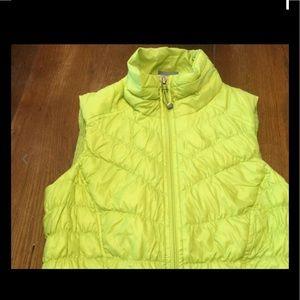 Athleta Sz XXS Downalicious Goose Down Vest Neon